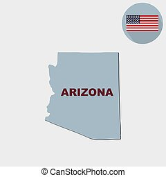 Map of the U.S. state of Arizona on a grey background. American flag, state name.