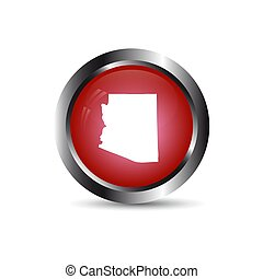 Map of the U.S. state of Arizona. Red button on a white backgrou