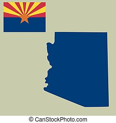 map of the U.S. state of Arizona with flag