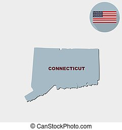 Map of the U.S. state of Connecticut on a grey background. American flag, state name.
