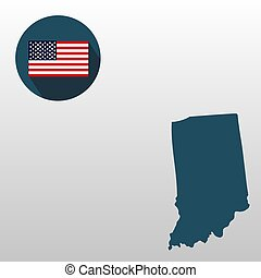 Map of the U.S. state of Indiana on a white background. American flag.