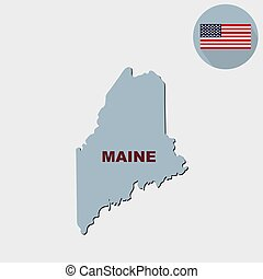 Map of the U.S. state of Maine on a grey background. American flag, state name