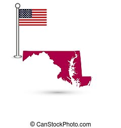 Map of the U.S. state of Maryland on a white background. American flag