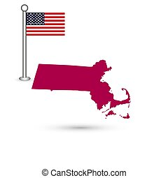 Map of the U.S. state of Massachusetts on a white background. American flag