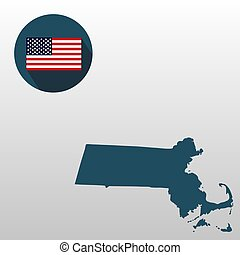 Map of the U.S. state of Massachusetts on a white background. American flag.