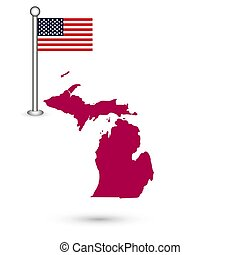Map of the U.S. state of Michigan on a white background. American flag