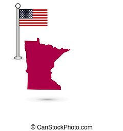 Map of the U.S. state of Minnesota on a white background. American flag