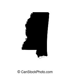 Map of the U.S. state of Mississippi on a white background...