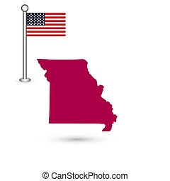 Map of the U.S. state of Missouri on a white background. American flag