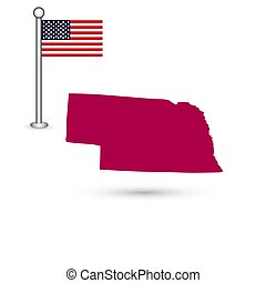 Map of the U.S. state of Nebraska on a white background. American flag
