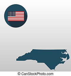 Map of the U.S. state of North Carolina on a white background. American flag