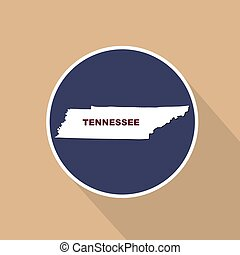 Map of the U.S. state of Tennessee on a blue background. State name