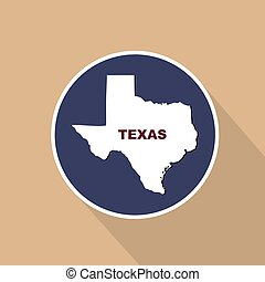 Map of the U.S. state of Texas on a blue background. State name.