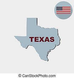 Map of the U.S. state of Texas on a grey background. American flag, state name