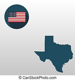Map of the U.S. state of Texas on a white background. American flag