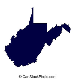 U.S. state of West Virginia - map of the U.S. state of West...