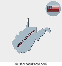 Map of the U.S. state of West Virginia on a grey background. American flag, state name