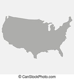 Map of the USA in gray on a white background