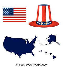 Map of the USA with a hat and flag on white background...
