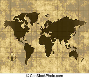 map of the world - an old map of world on grungy fading...
