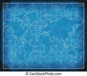 map of the world blueprint - an old map of world on...