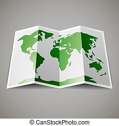 map of the World - Green map of the World, on gray...