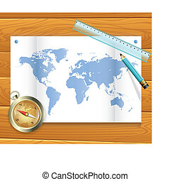 map of the world compass