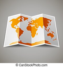 map of the World - Orange map of the World, on gray...
