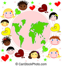 Map of the world , faces of childre