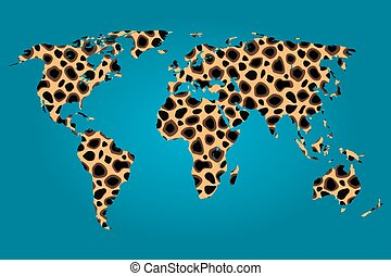 Map of the world filled with a Cheetah pattern