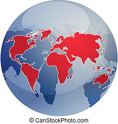 Map of the world illustration on globe