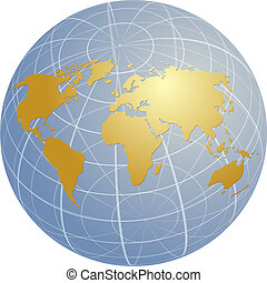 Map of the world illustration on globe grid - Map of the ...