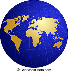 Map of the world illustration, on spherical globe with grid