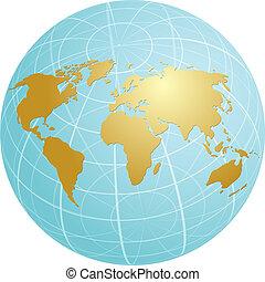 Map of the world illustration on globe grid