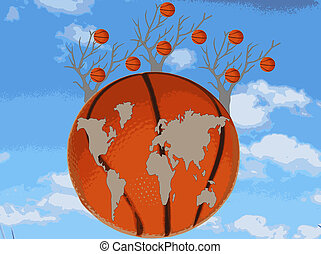 Map of the world is at a basketball
