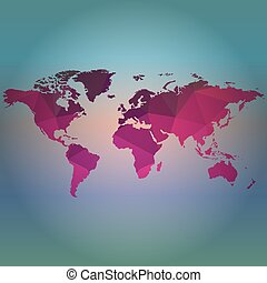 Map of the world on blur background