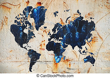 map of the world - Grunge Texture with map of the world