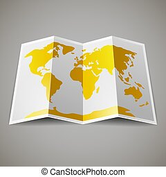 map of the World - Yellow map of the World, on gray...