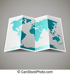 map of the World - Turquoise map of the World, on gray...
