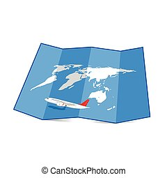 map of the world with airplane