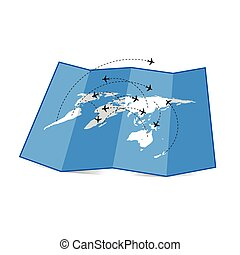 map of the world with airplane illustration set four