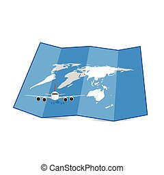 map of the world with airplane illustration set one