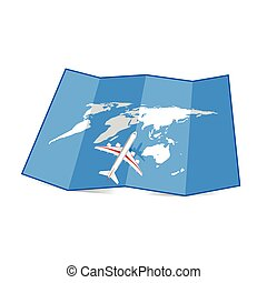 map of the world with airplane illustration set three