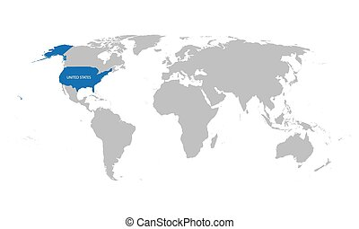 map of the world with indication of United States
