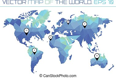 Map of the world with polygonal background.