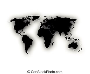 Map of the world with shadow