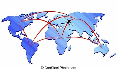 Map of the world with the movement of silhouettes of aircraft on the mainland