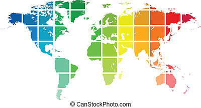 Map Of The World - World Map Color Guide Isolated On White