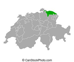 Map of Thurgau in Switzerland