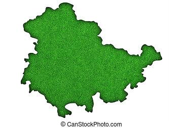 Map of Thuringia on green felt
